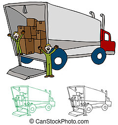 spostamento, ditta, camion
