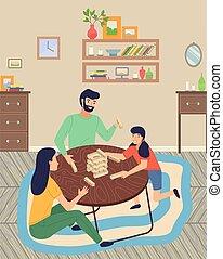 spostamento, moquette, blocchi, gioco, seduta, famiglia, hobby, spendere, jenga, pavimento, gioco, insieme, tempo