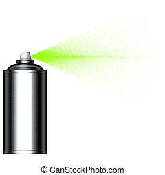 spruzzare, spruzzo, verde, lattina, visto, foschia, lato