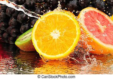 spruzzo acqua, frutta, puro