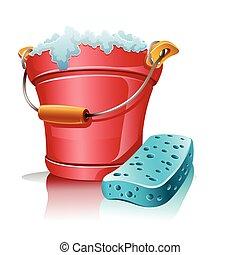 spugna, schiuma, secchio, bagno