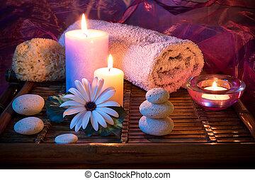 spugna, terme, pietra, candela