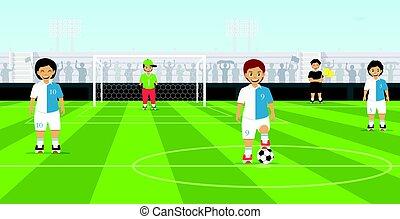 squadra, calcio, bambini