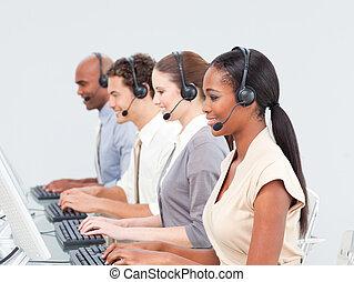 squadra, centro, affari, lavorativo, chiamata, concentrati
