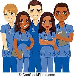 squadra, infermiera, diversità