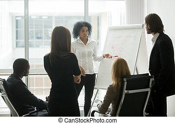 squadra, m, vendite, africano femmina, serio, presentazione, condottiero, dà