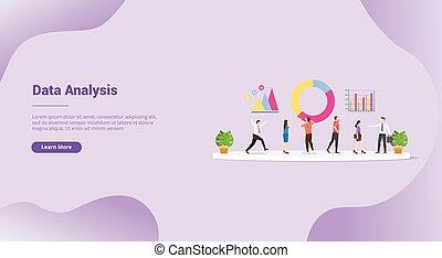 squadra, vettore, analisi, o, sito web, analizzare, bandiera, sagoma, atterraggio, dati, -, homepage