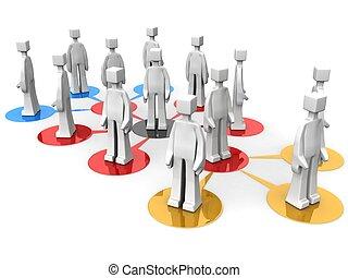 squadre, multi, affari, livello, concetto