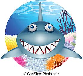 squalo, carattere, cartone animato