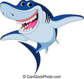 squalo, divertente, cartone animato