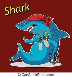 squalo, image., seduta, carattere, cartone animato, vettore, flippers., ancorare