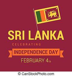 srilanka, vettore, disegno, giorno indipendenza, scheda
