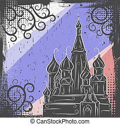 st., cattedrale, fondo, basil's