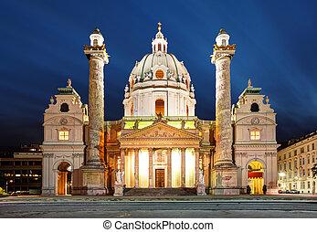 st., chiesa, -, austria, charles's, notte, vienna