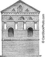 st., chiesa, engraving., john, vendemmia, poitiers