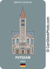 st., germany., europeo, chiesa, architettonico, pietro, potsdam, città, paul, simboli