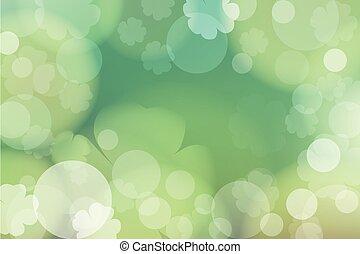 st., giorno, bokeh, sfondo verde, disegno, astratto, patrick's