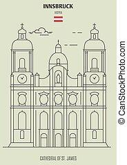 st., jamesl, innsbruck, cattedrale, punto di riferimento, austria., icona