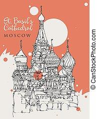 st., mosca, schizzo, disegno, illustrazione, basilico, cattedrale