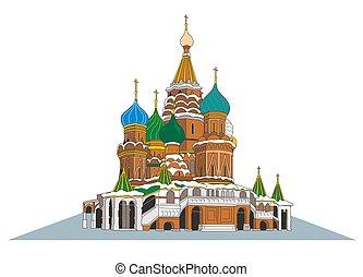st., moscow., illustrazione, s, vettore, basilico, cattedrale