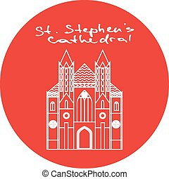 st., stephens, style., lineare, icona, vettore, cerchio, cattedrale, rosso, vienna