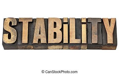 stabilità, parola, tipo, letterpress