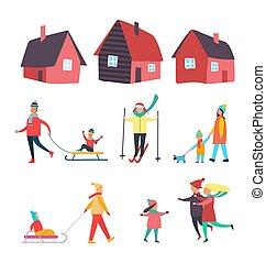 stagionale, attività, esterno, inverno, persone, vettore
