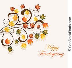 stagionale, foglie, ringraziamento, autunnale, disegno, fondo, o