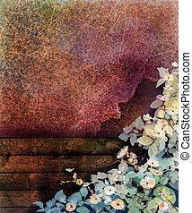 stagionale, recinto, parete, primavera, astratto, giallo, edera, fiore, foglia, struttura, fondo., legno, grunge rosso, natura, dipinto, mano, acquarello, fondo, bianco, fiori, painting.