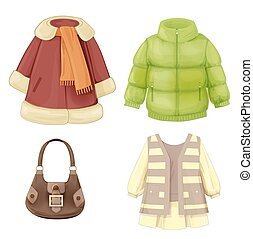 stagionale, vestire, set, cappotto, imbottito, girls., parka, vestiti