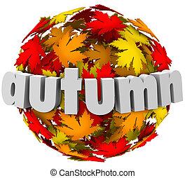 stagione, foglie, autum, sfera, colori, mutevole, cambiamento