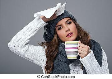 stagione, freddo, influenza