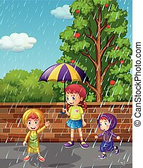 stagione, piovoso, bambini, tre, pioggia