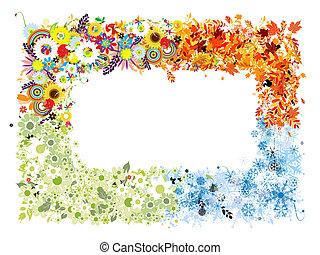 stagioni, primavera, winter., -, autunno, estate, quattro, cornice
