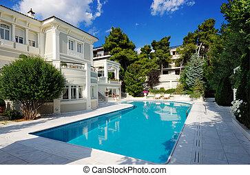 stagno, lusso, nuoto, villa