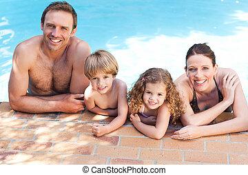 stagno, nuoto, accanto, famiglia, felice