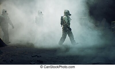 stalkers, post-apocalyptic, gas, 3d, abbandonato, nucleare, passeggiata, concetto, war., lungo, maschera, interpretazione, attraverso, mondo, militare, abbigliamento protettivo, fumo, tunnel., secondo