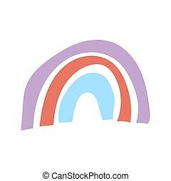 stampa, bianco, isolato, abbigliamento, rainbow., hygge, stile, fondo., manifesto, vivaio, vettore, creativo, infantile, illustrazione, decorazione, scandinavo