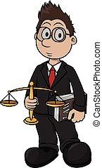 stampa, cartone animato, illustrazione, avvocato