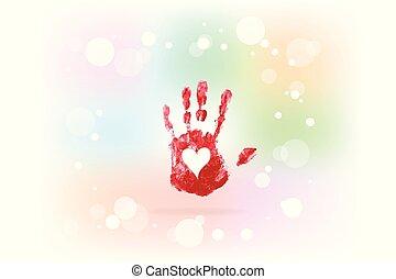 stampa, cuore, mano, amore, logotipo