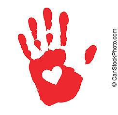 stampa, cuore, mano, icona