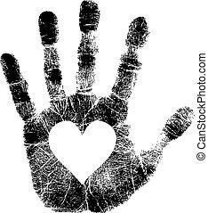 stampa, cuore, mano