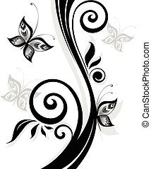 stampa floreale, nero