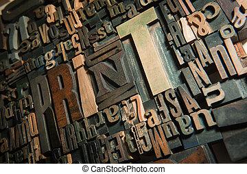 stampa, fondo, legno
