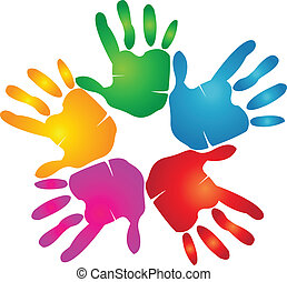 stampa, logotipo, colori, vivido, mani