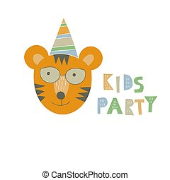 """stampa, party"""", vettore, """"kids"""