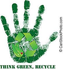 stampa, riciclare, mano, icona