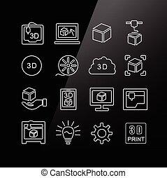 stampa, set, 3d, icona