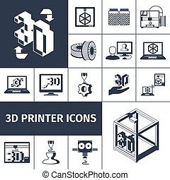stampante, 3d, icone