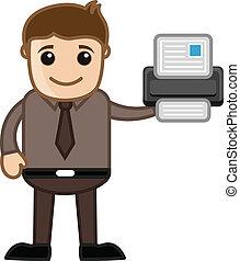 stampante, -, cartoni animati, affari, vectors
